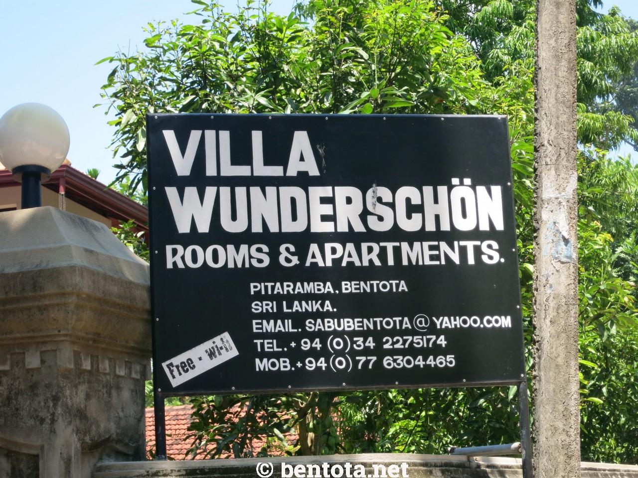 Villa Wunderschön Bentota Schild